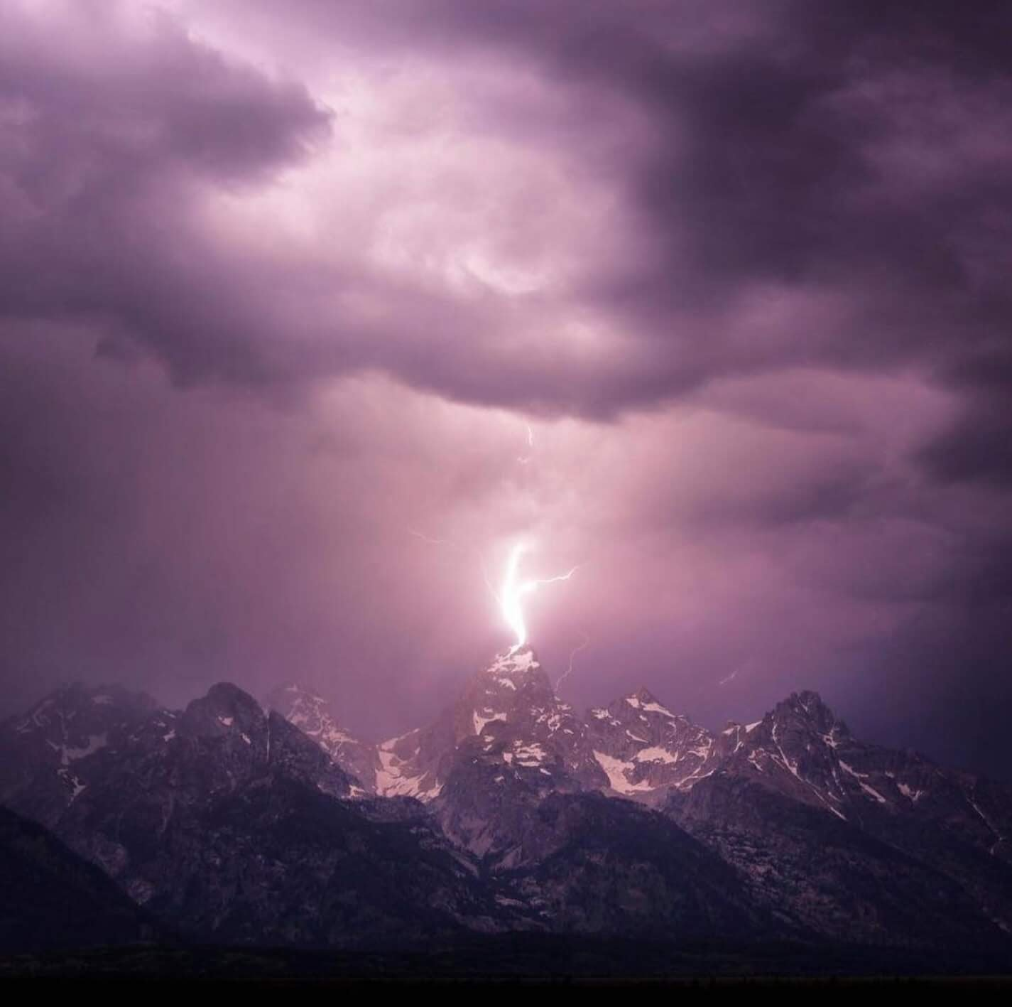 Lightning striking the Grand Teton.